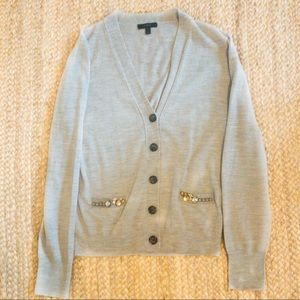 J Crew Heather Gray Cardigan Sweater Sz Large